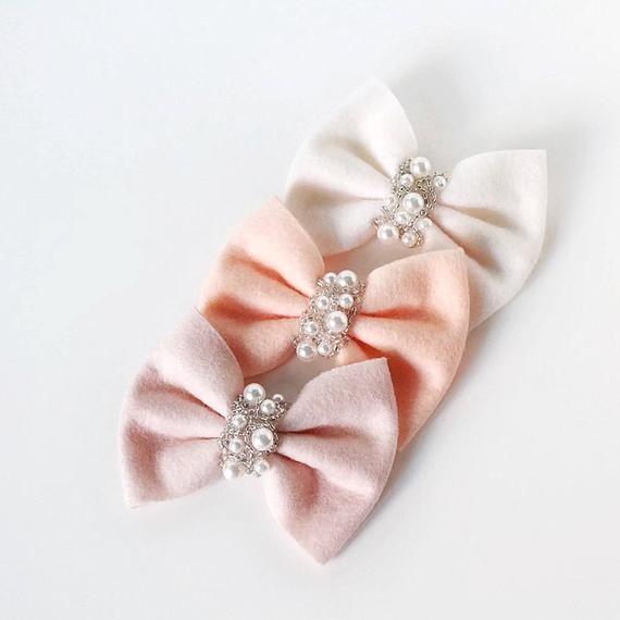 peach bow, ivory bow, light latte bow, set of 3 bows, baby hair bows, infant headband, bow headband, baby bows