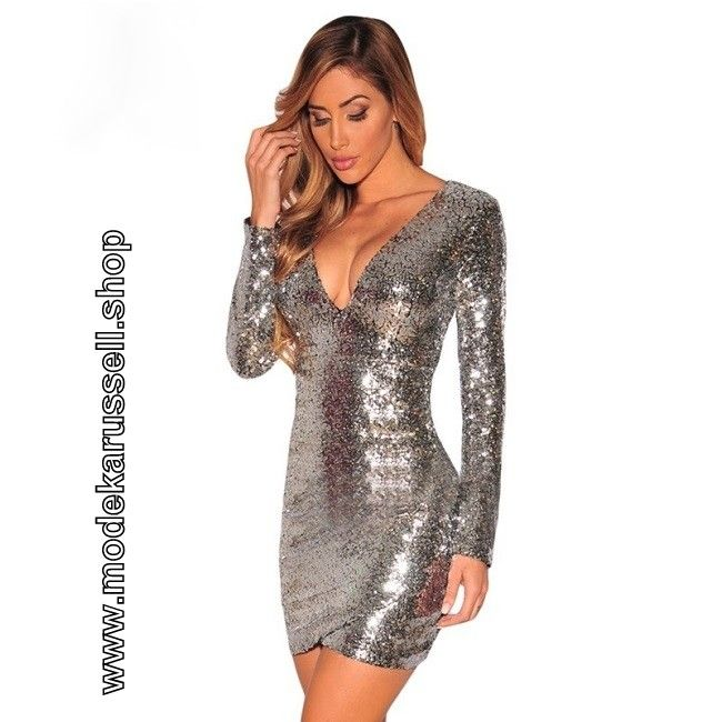 Pailletten Kleid Cocktailkleid 2018 Genoveva in Silber ...