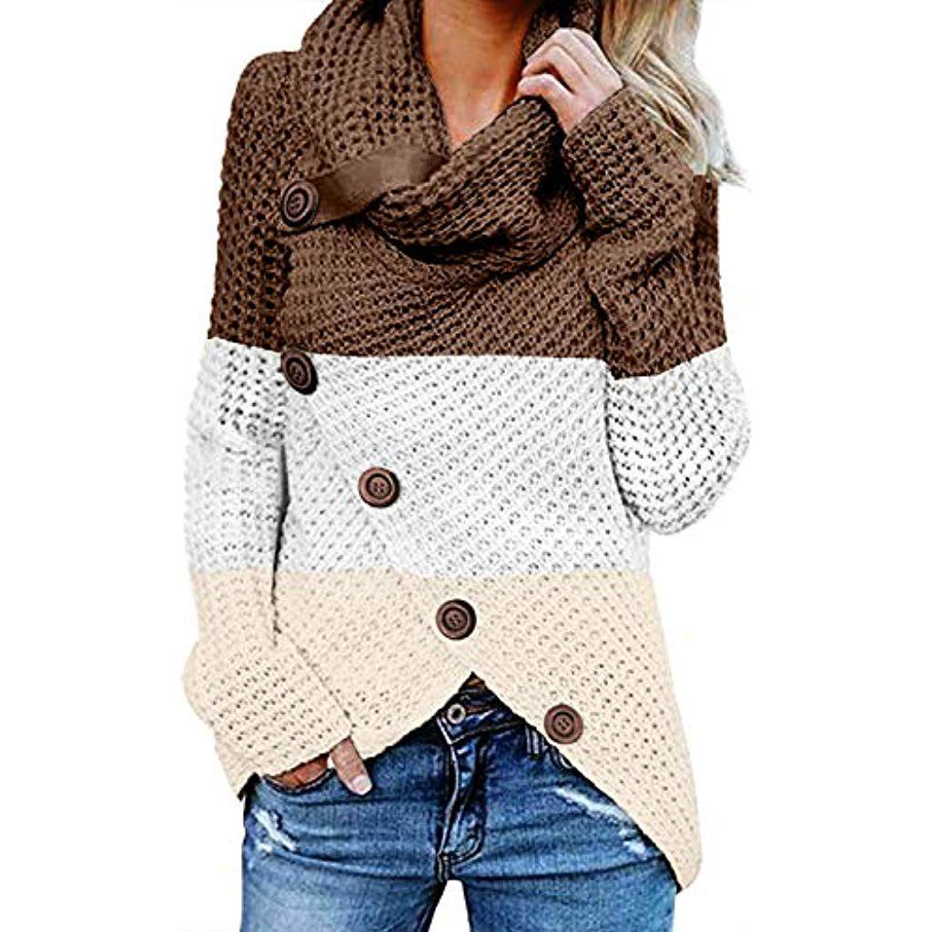low priced a5efa 2cbba FIYOTE Damen Winterjacke Warm Strickjacke Rollkragen ...