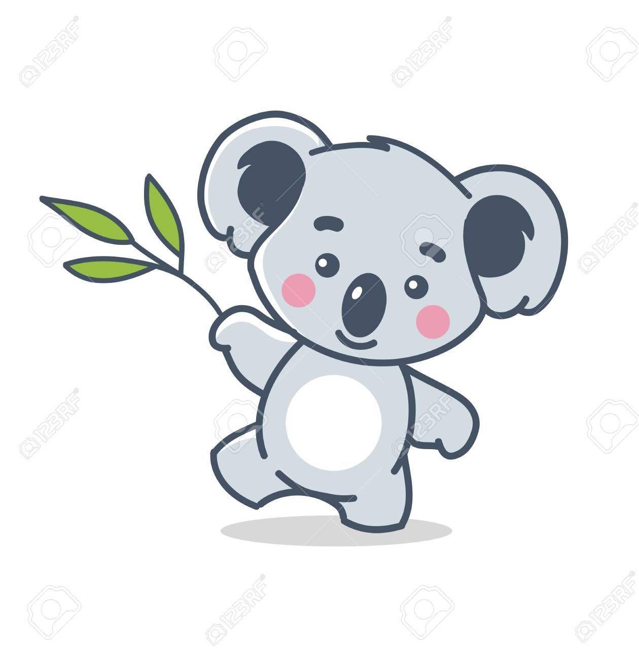 Koala Divertido Aislado En Blanco Koala Koala Animado Ilustraciones De Animales