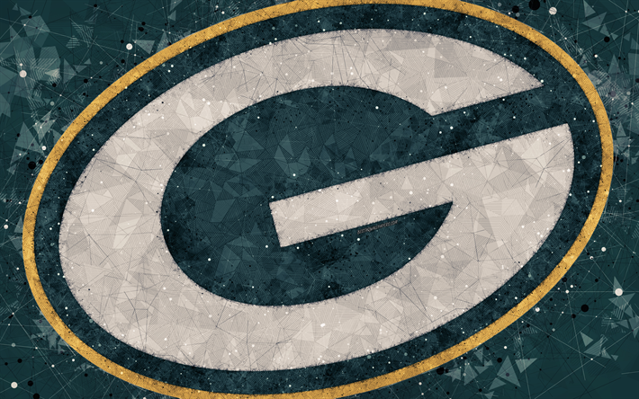 Download wallpapers Green Bay Packers 4k logo geometric art american footbal