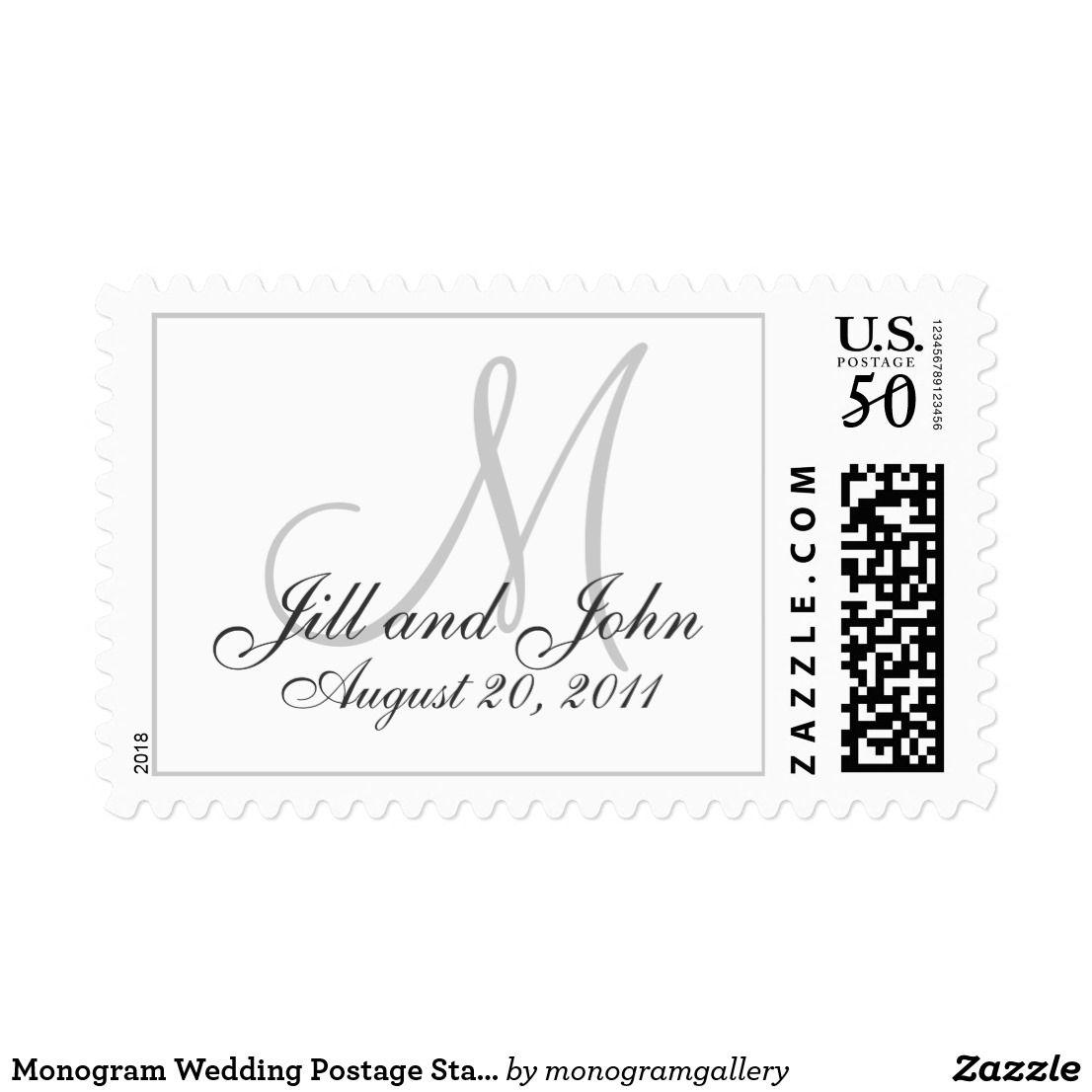 Monogram Wedding Postage Stamps White Grey   Weddings - Invitations ...