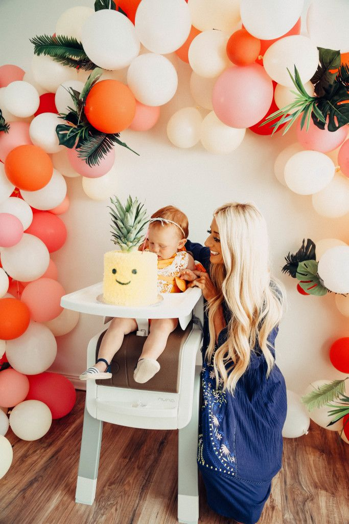 DIY Balloon Arch Tropical Birthday Party Stevie Henderson