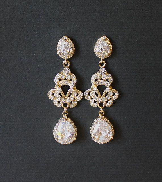 Brautschmuck ohrringe tropfen  Braut Ohrringe Gelbgold Gold Ohrringe Brautschmuck von JamJewels1 ...