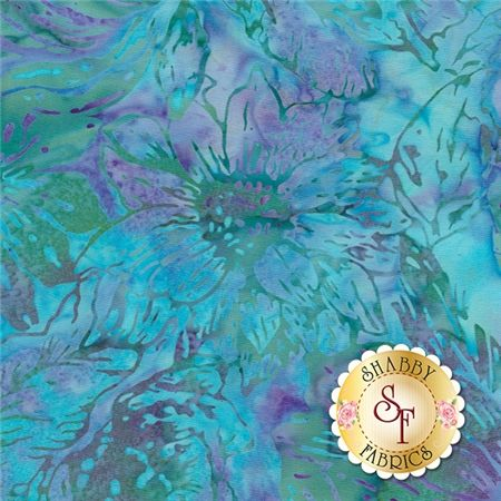 """Bali Chop M2755-602 Mixed Floral Earth Day by Hoffman Fabrics: Bali Chop is a batik collection from Hoffman Fabrics. This fabric features a light blue floral on a mottled purple and green background. Width: 43""""/44""""Material: 100% CottonSwatch Size: 6"""" x 6"""""""
