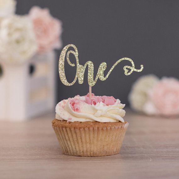 Ersten Geburtstag Kuchendeckel Madchen Gold Glitter One Partei