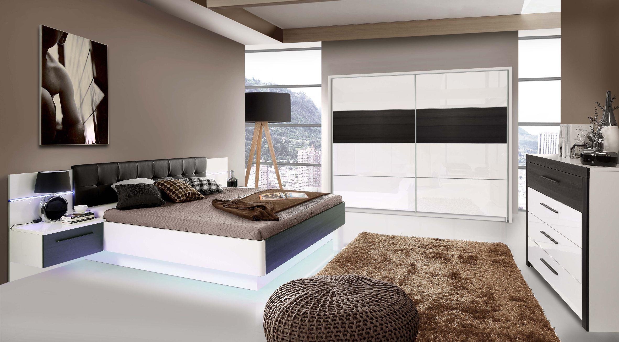 Schlafzimmer Mit Bett 180 X 200 Cm Weiss Hochglanz