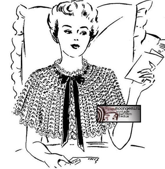 PDF Shoulder Cape Bed Jacket Vintage Crochet Pattern by