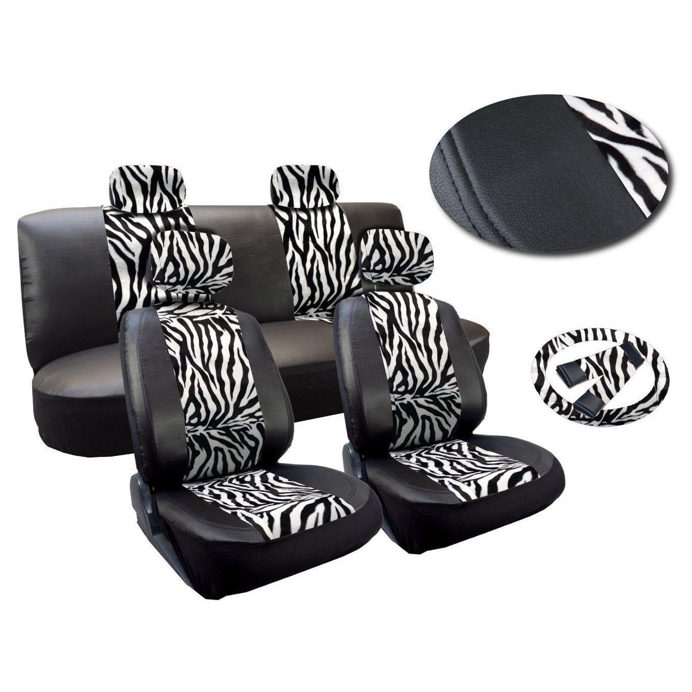 Unique 13 Piece Zebra Stripes Print Leatherette Seat Cover Set White