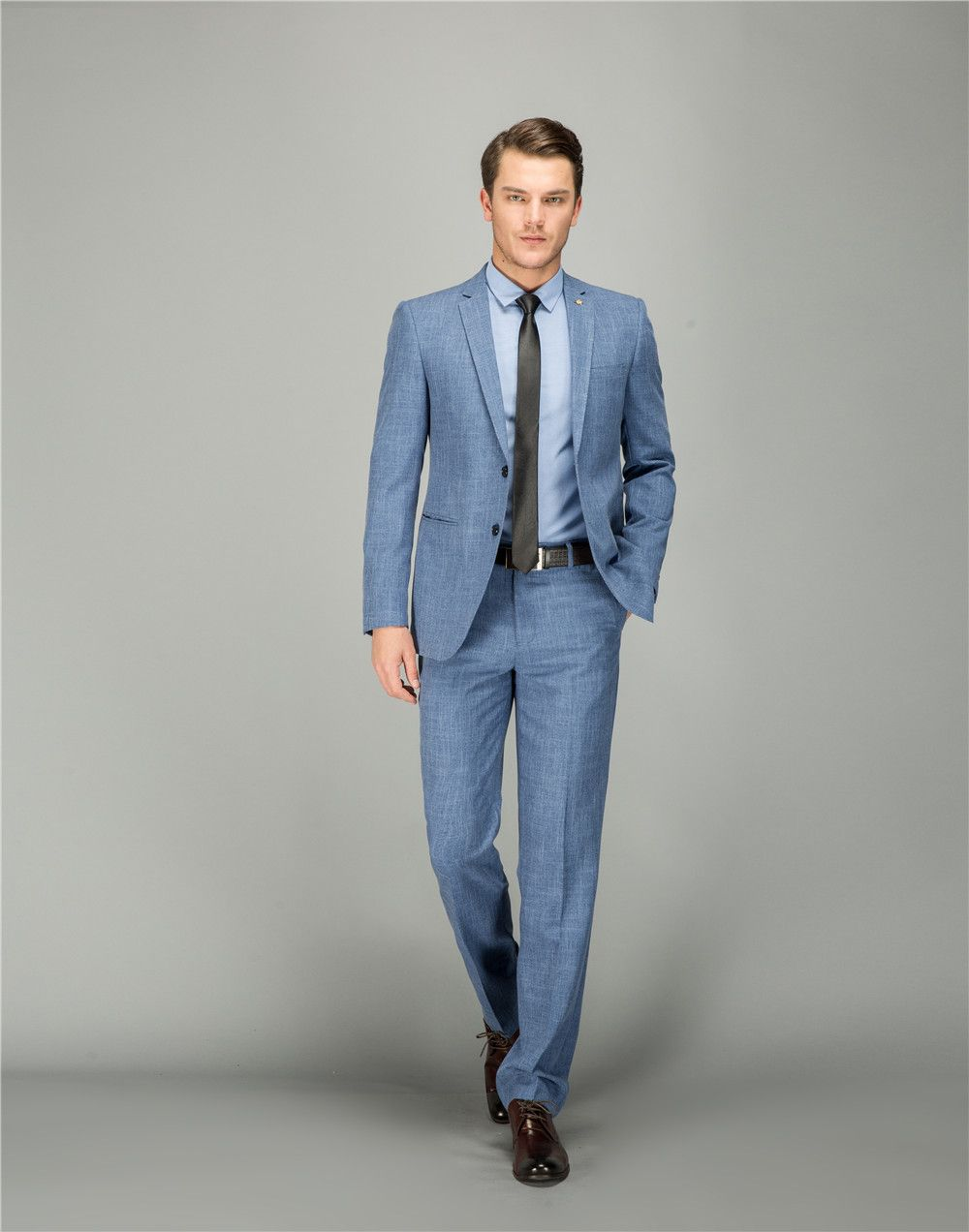 66c3ad0ee74 Suit Men Light Blue Wool Wedding Fashion Tailor Made Suit Slim Fit Leisure  2018 Costume Homme Mariage 15953