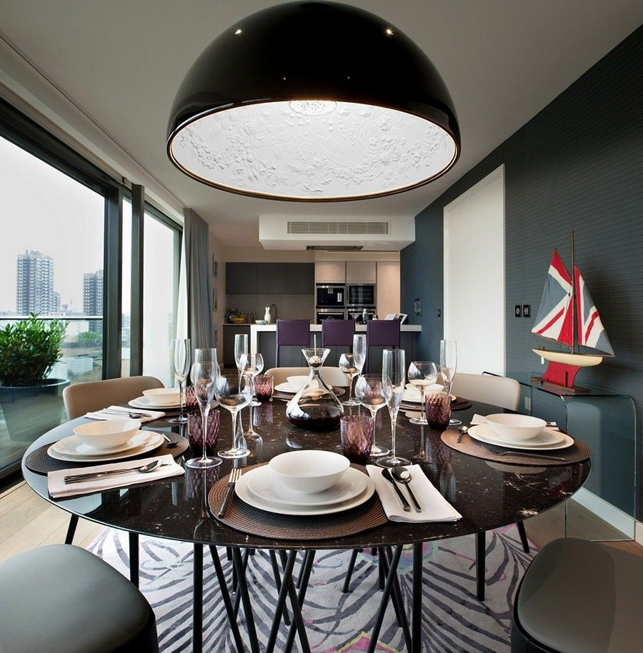 Modern Stylish Dining Area Interior With Black Large Bowl Pendant Light. # Lighting #Pendantlights