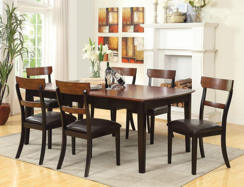 7 Pc Country Black Brown Wood Dining Set Table Chairs Leather Seat Rectangular Dining Room Set Rectangular Dining Table Kitchen Table Settings