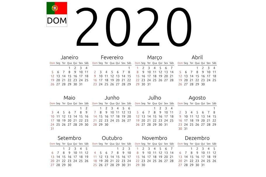Calendar 2020 Portuguese Sunday Stationery Templates Calendar Printables Printable Calendar Template