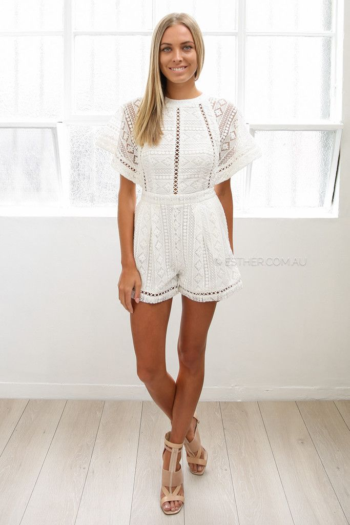 7067e4be zara lace playsuit - ivory | Esther clothing Australia and America USA,  boutique online ladies fashion store, shop global womens wear worldwide, ...
