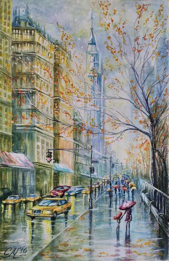 Commissioned painting New York painting watercolor painting     New York rain watercolor painting Manhattan          svetlanamatevosjan