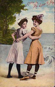 Postcard showing 1906 bathing dresses  -  Courtesy of fuzzylizzie.com