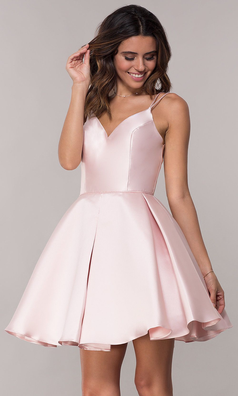 57ee2a0dc76 Double-Strap V-Neck Alyce Short Homecoming Dress in 2019