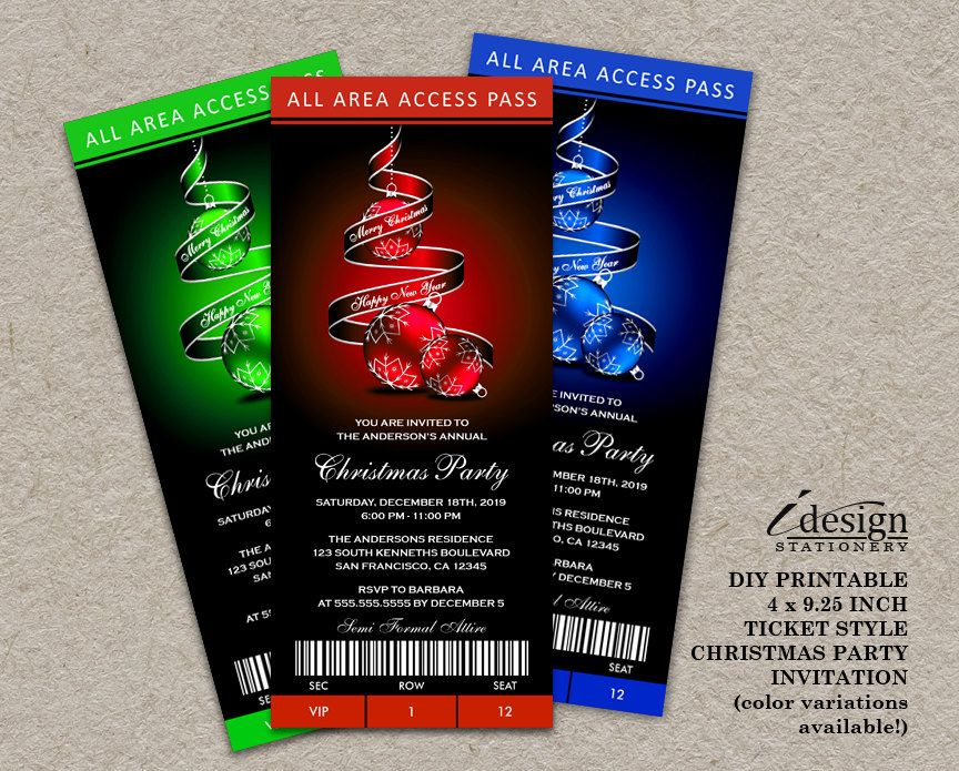 Printable Christmas Party Ticket Invitations Ticket Style - print your own tickets template free