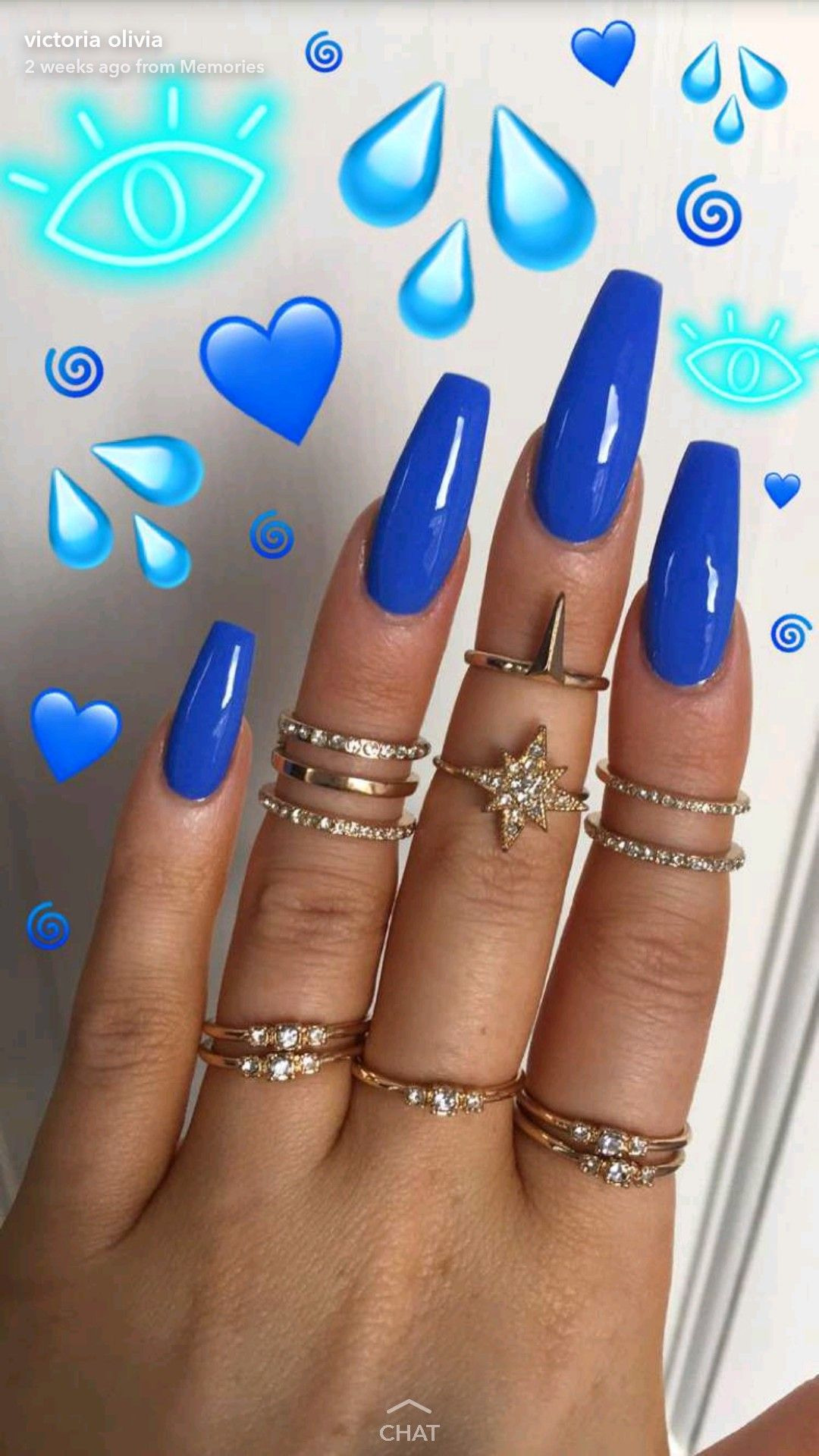 Light Blue Acrylic Nails With Diamonds