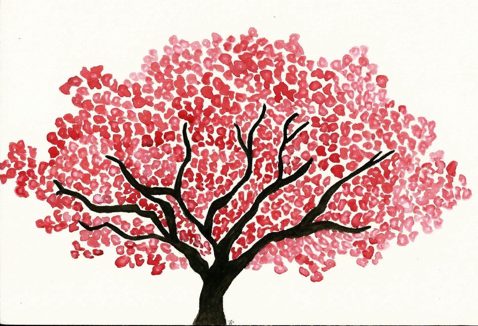 Cerisier Japonais A L Aquarelle Dessin Arbre Dessin Japonais