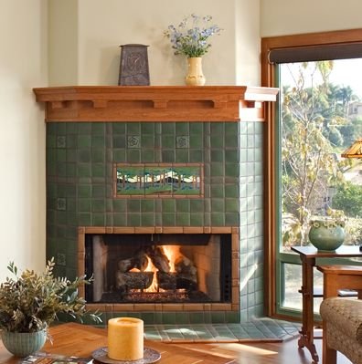 Corner Fireplace with Motawi Pine Landscape Tile | Fireplaces | by ...