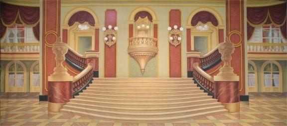 Grand Ballroom Disney Castle Backdrop Com Imagens Escadas
