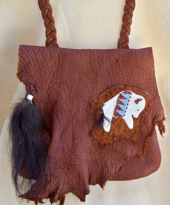 4256fe02f2 Mountain Man Buffalo Hide Possibles Bag with Beaded White Buffalo by Miss  Tudy on etsy
