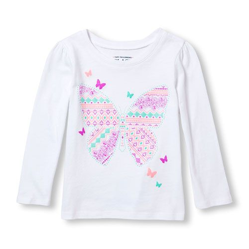 125ad843 s Toddler Long Sleeve Glitter Fair Isle Print Butterfly Neon Graphic Tee -  White T-Shirt - The Children's Place