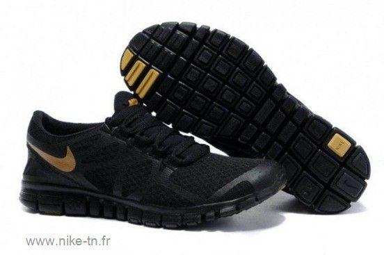 timeless design 6abb7 72bbc Nike Free 3.0 V3 Chaussures de Course Pied pour Femme Noir Or
