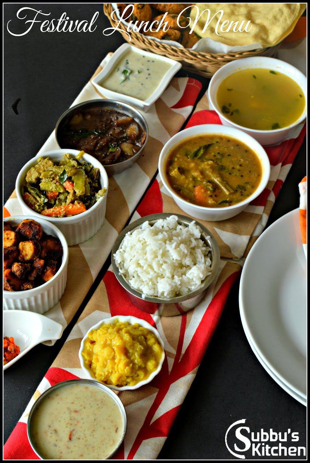 Festival Lunch Menu1 | Subbus Kitchen | Delicious Cooking