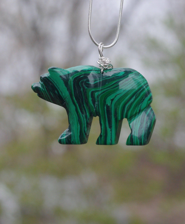 Bear Green Jasper Gemstone Pendant Hand Carved Stone Necklace