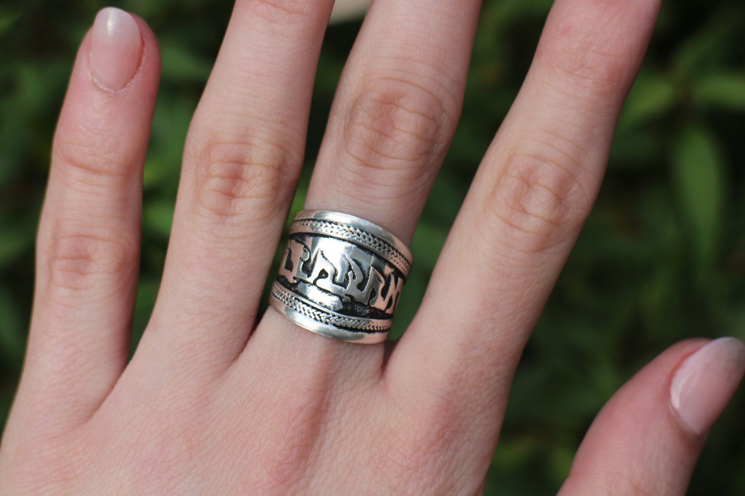 Mantra ring- Nepali - White metal #adjustable #ring, Hindu #ring ...