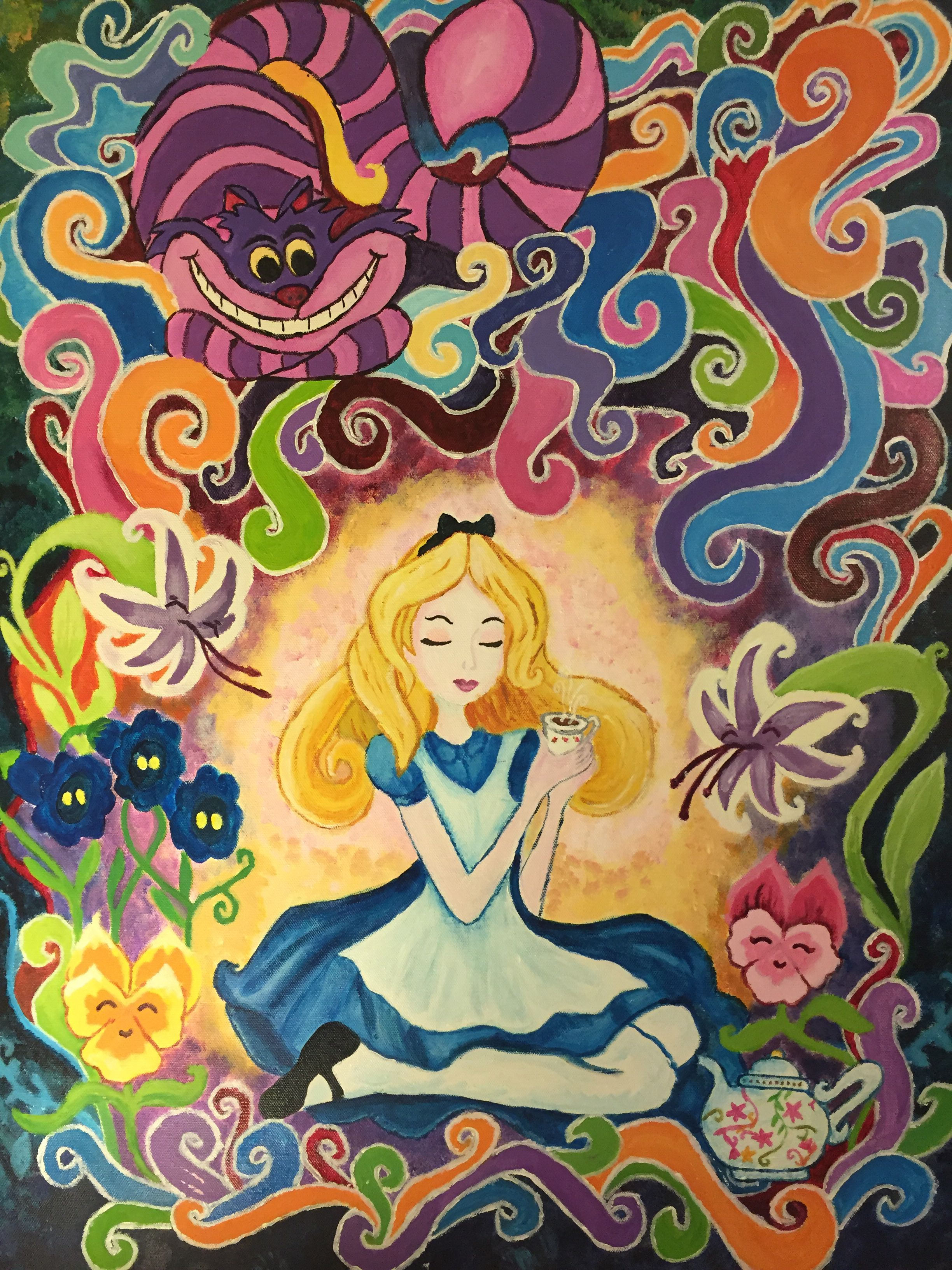 Alice In Wonderland Acrylic Painting I Did On A 22