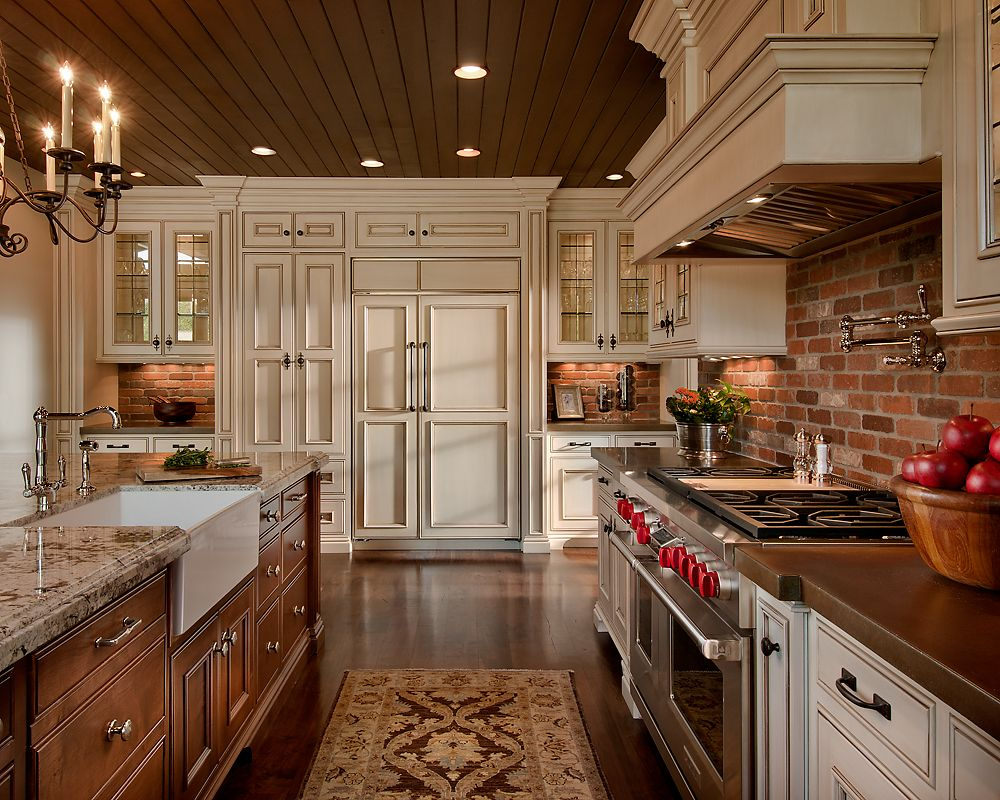 Classic Kitchen Decoration With Beautiful Red Brick Backsplash