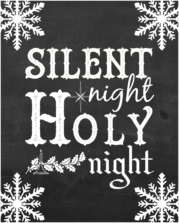 Free Christmas Songs Printable Chalkboard Art
