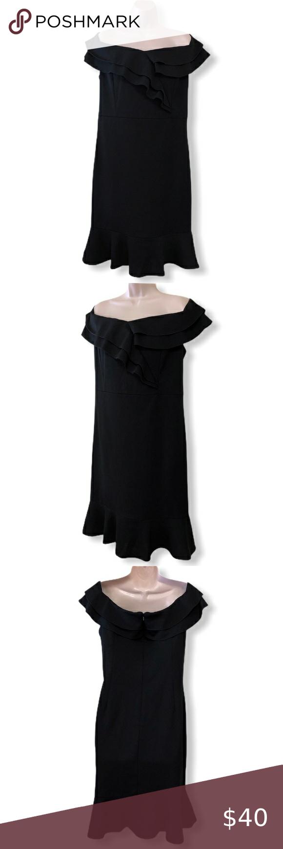 Ile Black Off The Shoulder Ruffle Dress Black Faux Leather Dress Shoulder Ruffle Dress Off White Lace Dress [ 1740 x 580 Pixel ]