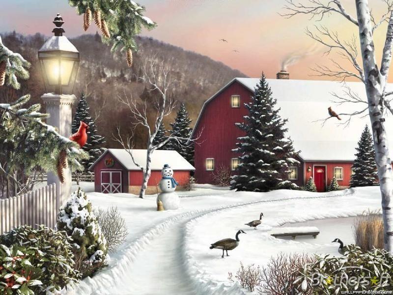 Winter Farm Scenes Wallpaper Download Free Winter On The