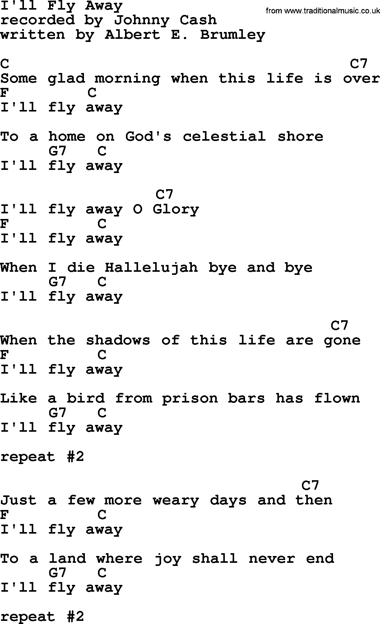Johnny Cash Song Ill Fly Away Lyrics And Chords Music In 2018