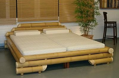 Bamboo Bed Frame With 2 Twin Bed Mattresses Banquinhos De