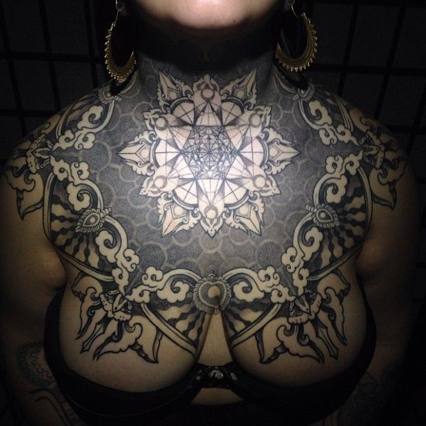 16 Admirable Geometric and Ornamental Chest Piece Tattoos | Tattoos ...
