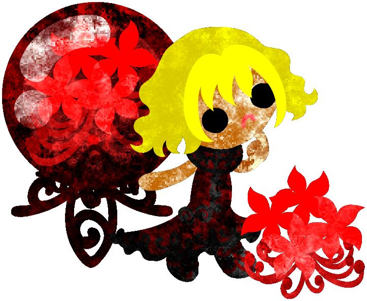秋のフリーのイラスト素材可愛い女の子とヒガンバナと赤いクリスタル  Free Illustration of autumn A cute little girl and the spider lily and a red crystal   http://ift.tt/2bEfA38