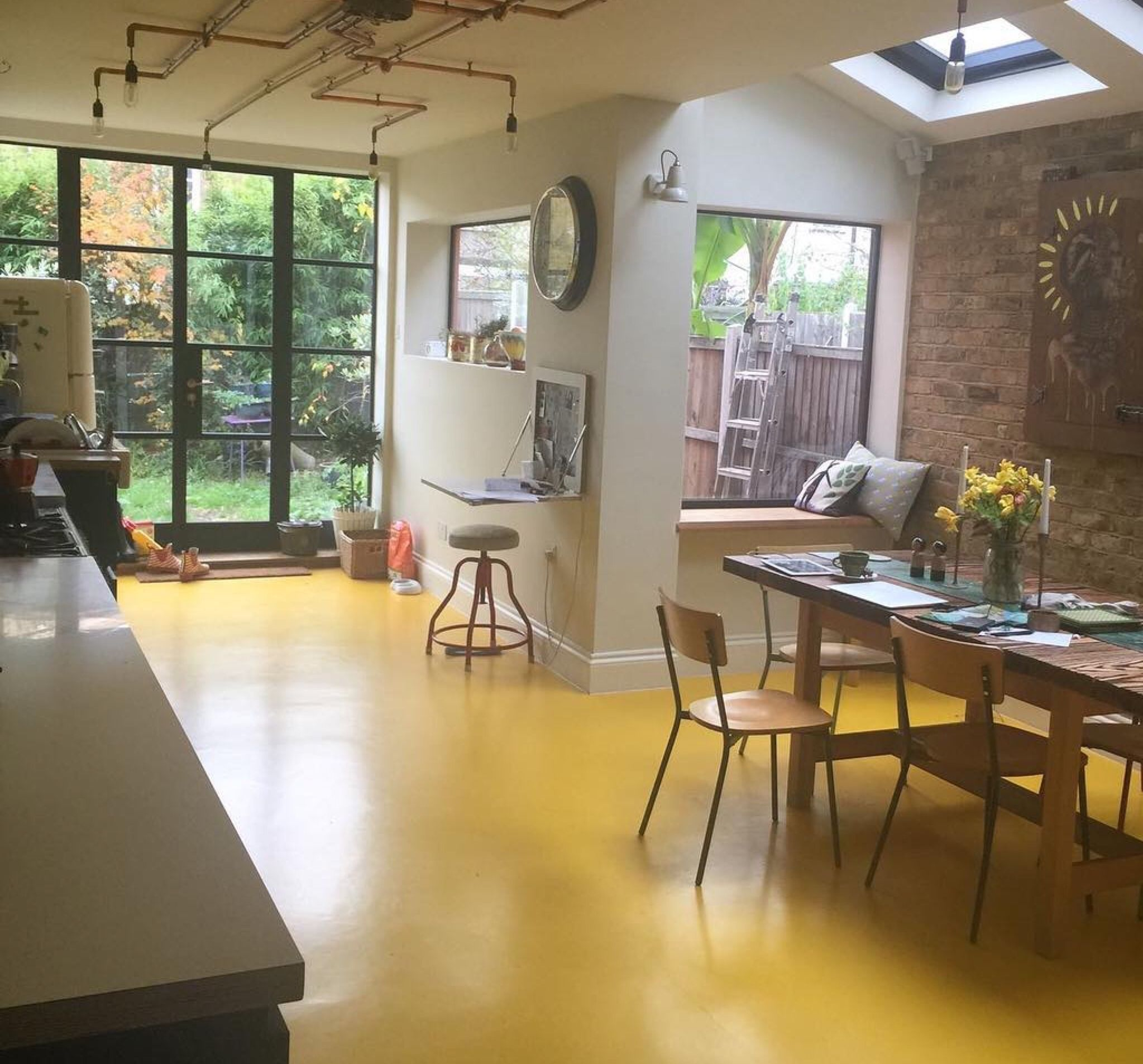 Springfield Yellow Rubber Looking Great In This Amazing Kitchen Diner Untillemonsrsweet Rubber Flooring Kitchen Rubber Flooring White Modern Kitchen