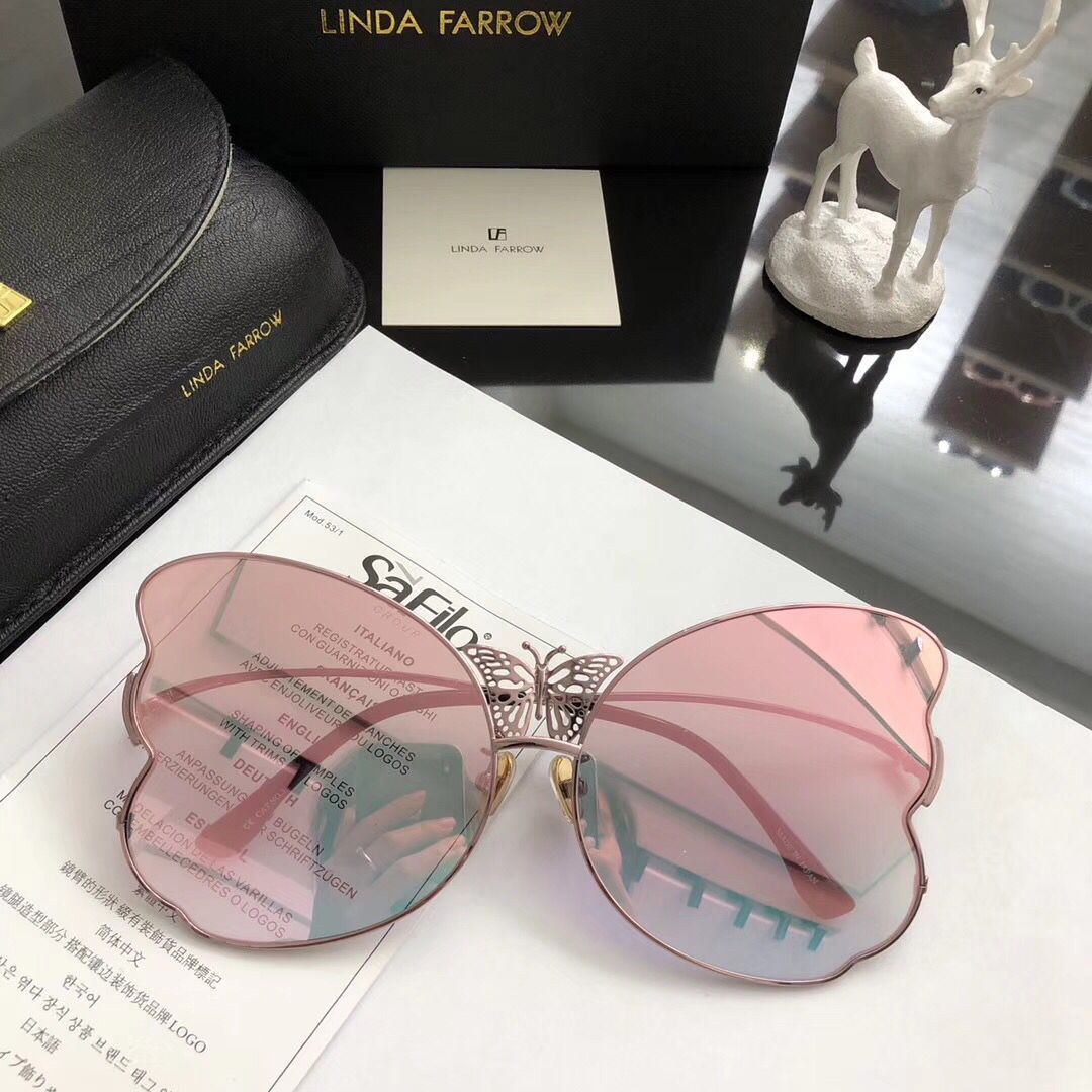 97edca660c3 Linda Farrow Luxury Fashion Popular Sunglass With Coating Mirror Lens UV  Protection Women Designer Vintage Butterfly shape Frame Top Quality