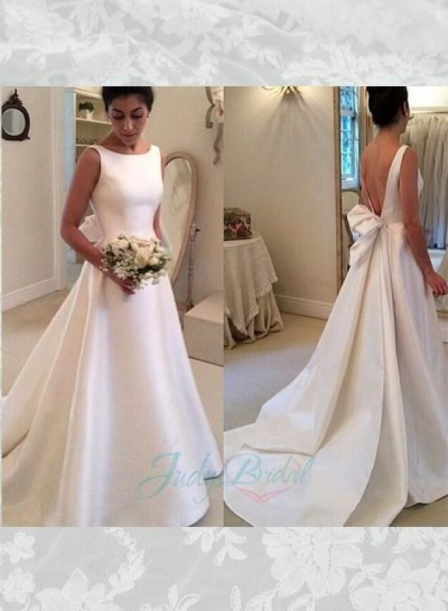Simple But Chic Ivory Satin V Shape Low Back Bridal Gown Bateau Neckline With Plain Bodice Y Open Bow Streamer Train Chapel Length