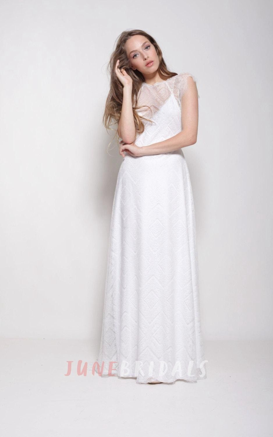 Long sleeve casual wedding dress  Sleeveless Lace Long Cap Dress With Illusion Back  Bohemian Wedding