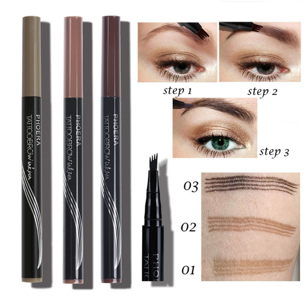 BaiMoon Tattoo Eyebrow Pen with Four Tips Longlasting Waterproof