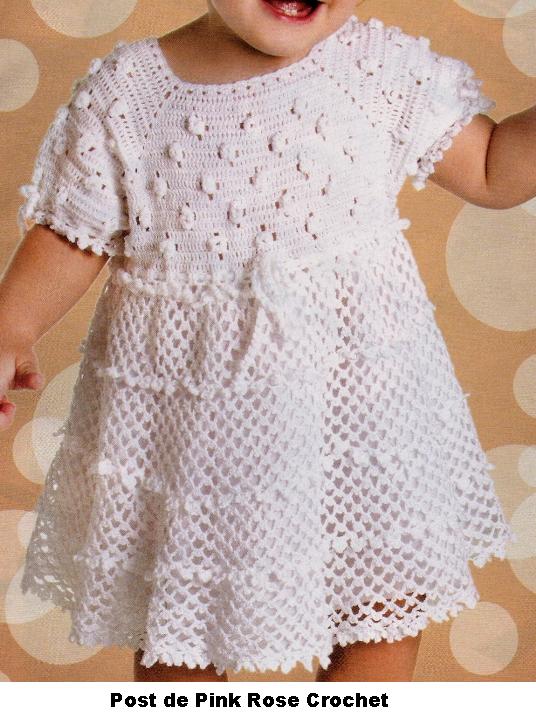 PINK ROSE CROCHET: Vestido Branco Lindo para Meninas | Ganchillo ...