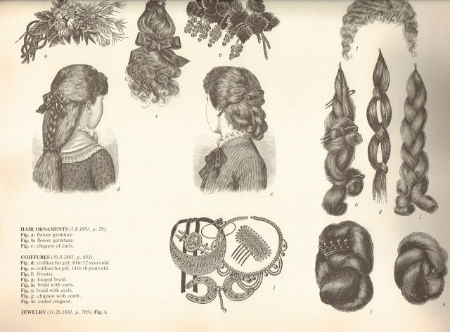 1881 hair pieces. | Era: Natural Form | Victorian