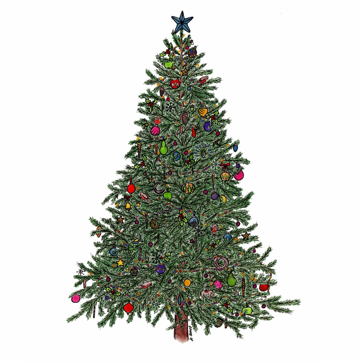 Watercolour Christmas Tree: Hand Painted, Watercolour Christmas Tree Illustration