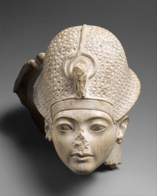 Head of Tutankhamun.New Kingdom, Amarna Period: 18th Dynasty, Reign of Tutankhamun, ca. 1336–1327 B.C., Indurated Limestone